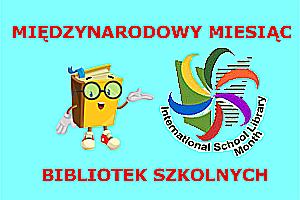 Logo Międzynarodowego Miesiąca Bibliotek Szkolnych w postaci kolorowych promieni i wizerunku książki